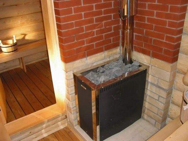 Стены вокруг печи и каменки должны быть обшиты металлом или выложены из кирпича