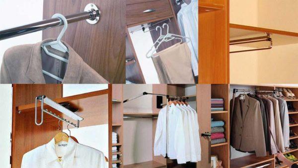 Существует несколько разновидностей подвески для одежды в шкафах купе.