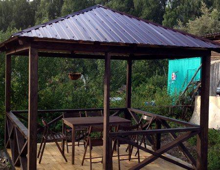 Крыша для беседки из профнастила своими руками