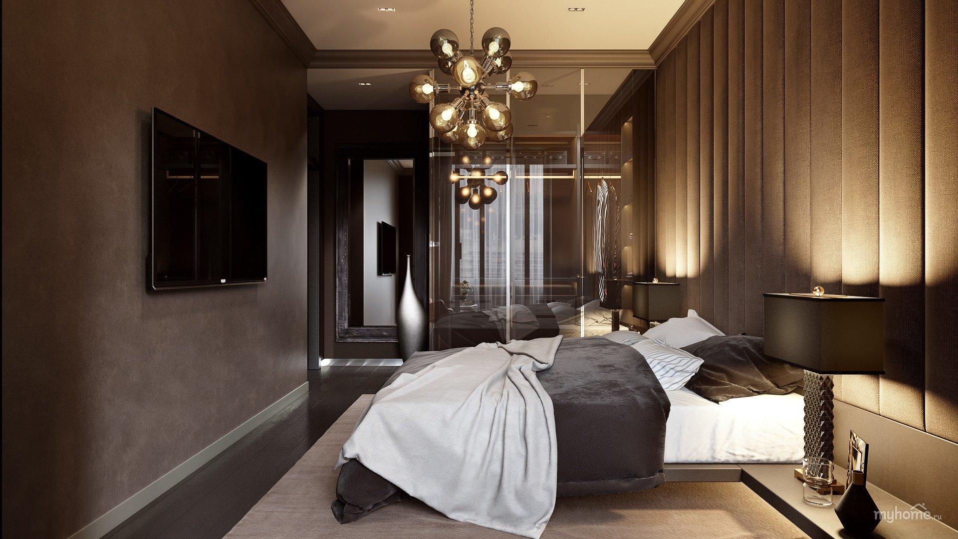 Фотографии спален в шоколаде с золотом