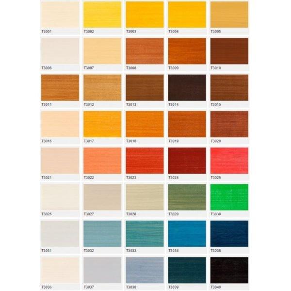 Таблица цветов тонировочных лаковых покрытий.