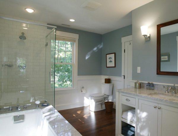 Так выглядит полуглянцевая краска в интерьере ванной комнаты.