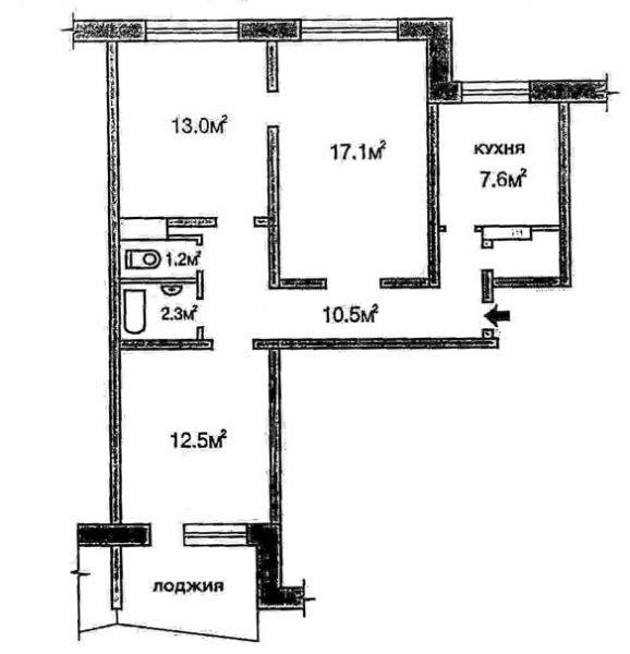 Типовая планировка трехкомнатной квартиры.