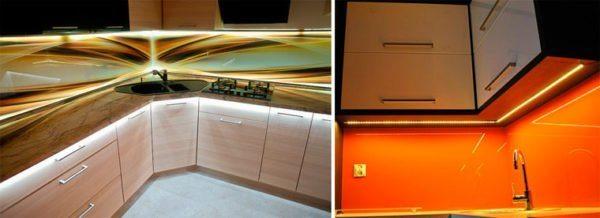 Цветная подсветка кухонного фартука в 3D это всегда свежо и оригинально.