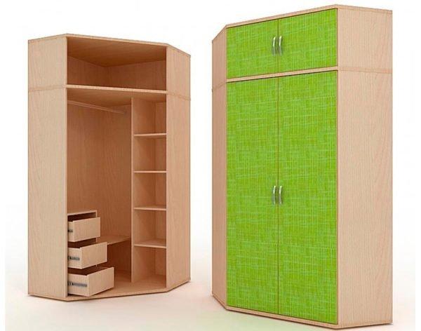 Угловой двухстворчатый шкаф