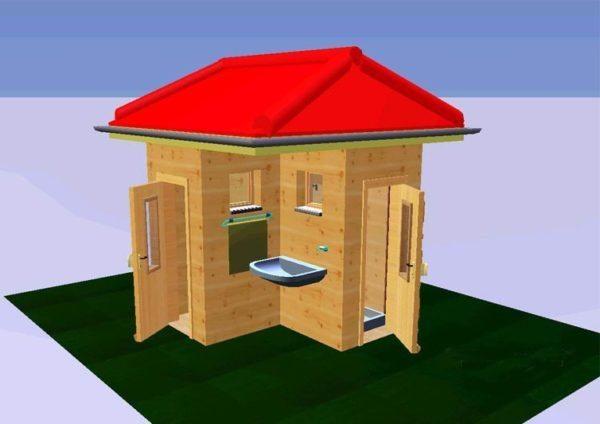 Угловой туалет с душем и навесной умывальник – удобное и компактное решение для дачного участка