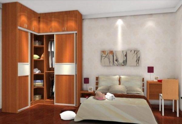 Угловые конструкции для спальни могут иметь разный размер и конфигурацию.