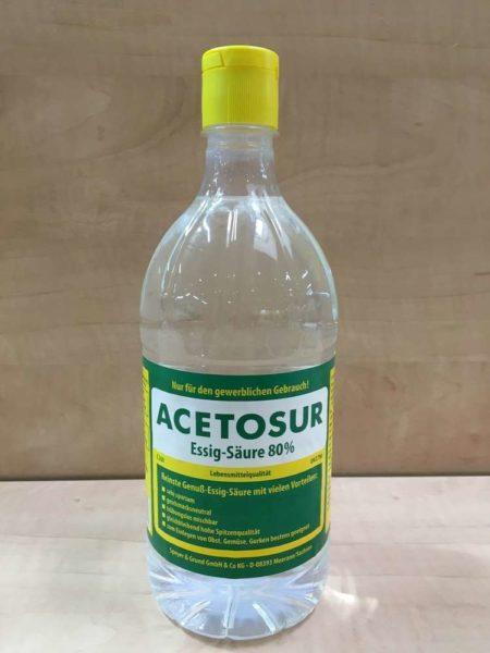Уксусная эссенция представляет собой семидесяти или восьмидесятипроцентный раствор уксусной кислоты