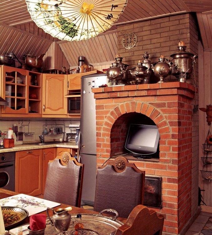 Кухня в деревянном доме с печкой фото