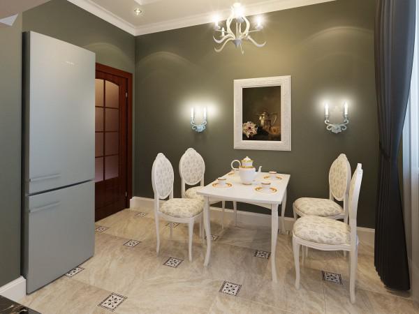 В кухнях, где подвешена люстра, бра нужно подбирать в одном стиле с нею.