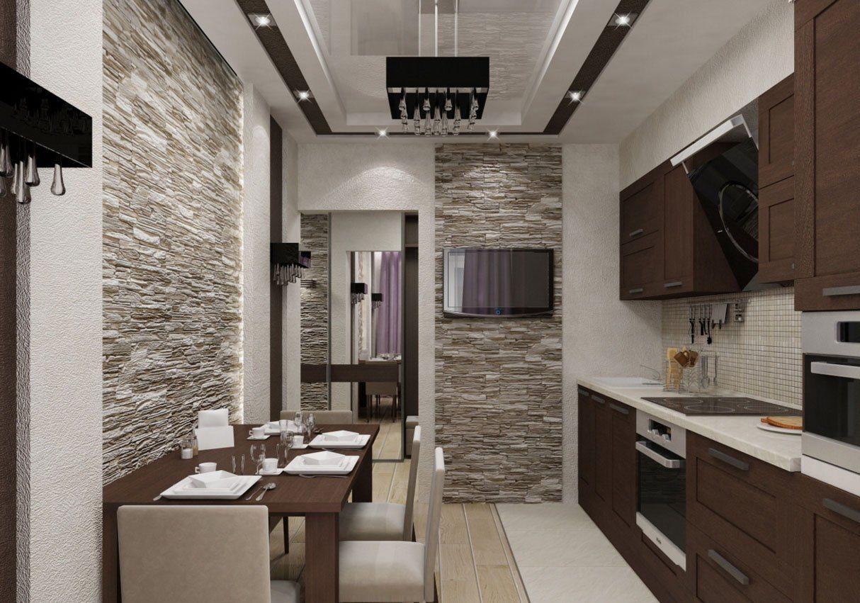 Дизайн кухни маленькой и прихожей