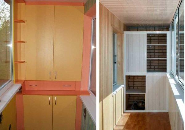 В самом простом варианте планировки балконной мебели полочки монтируются на всю ширину пролета.