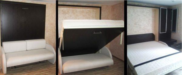 В сложенном виде кровать-диван занимает гораздо меньше места, чем в разложенном