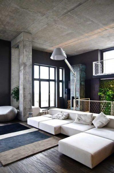 В современных домах аккуратные бетонные потолки даже не отделывают дополнительно