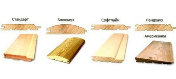 Вагонка может отличаться по типу соединений, наличию/отсутствию фаски, а также формы поверхности