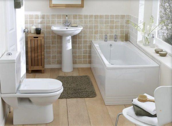 Вид и количество сантехники в ванной комнате напрямую будет зависеть от ее площади