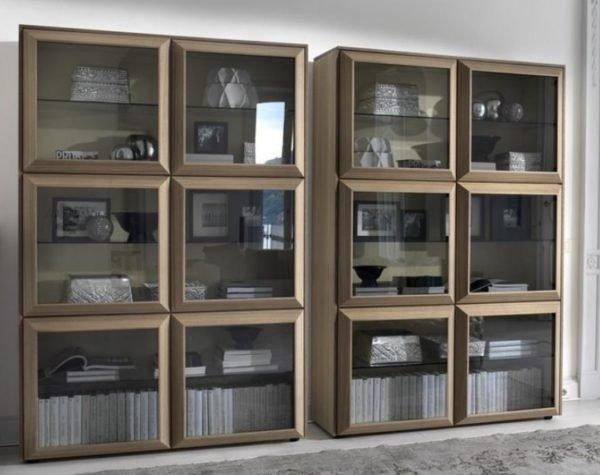 Витринный книжный шкаф в современном стиле с модульной системой отсеков