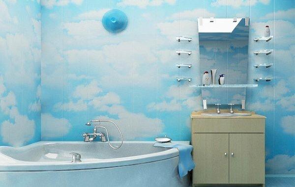 Вода пластику не страшна, так что его легко можно использовать для облицовки стен ванной