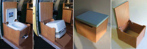 Встраиваемый в мебель компактный жидкостный биотуалет удобен в использовании и незаметен