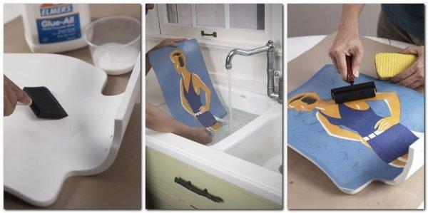 yarkiy-poster-prevratit-obychnyy-plastikovyy-stul-v-art-obekt-600x299 Декупаж старого шкафа своими руками фото: кухонный мастер-класс, как сделать оформление двери шкафчика