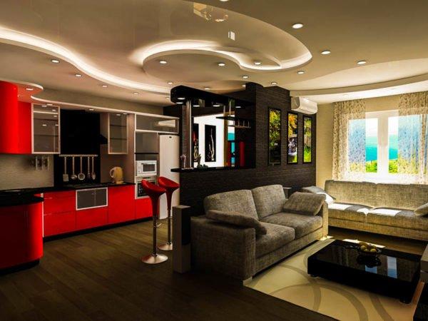 Зонирование можно организовать с помощью цвета отделки, осветительных приборов и предметов мебели