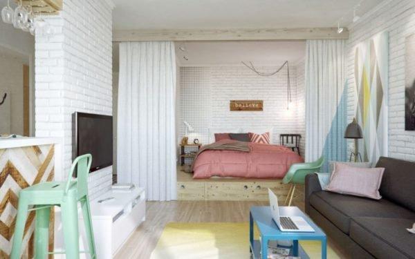 Зонирование с использованием ниши позволяет превратить одну комнату сразу в несколько, каждая из которых отличается своим особым функционалом